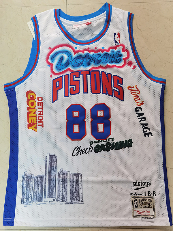 Wholesale Men Detroit Pistons 88 Don white NBA jerseys Print