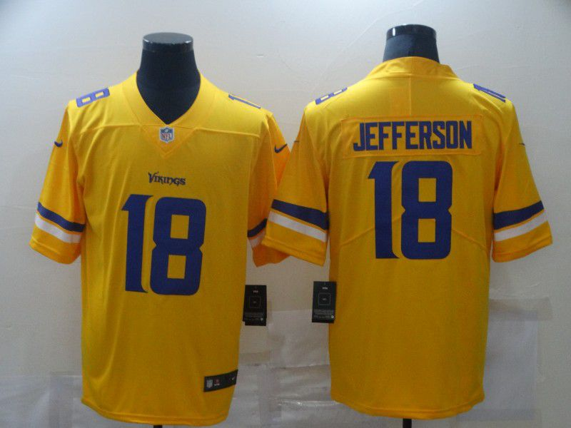 Cheap Men Minnesota Vikings 18 Jefferson Yellow Nike Limited Vapor Untouchable NFL Jerseys