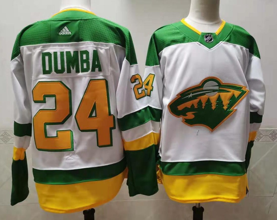 Wholesale Men Minnesota Wild 24 Dumba White Throwback Authentic Stitched 2020 Adidias NHL Jersey