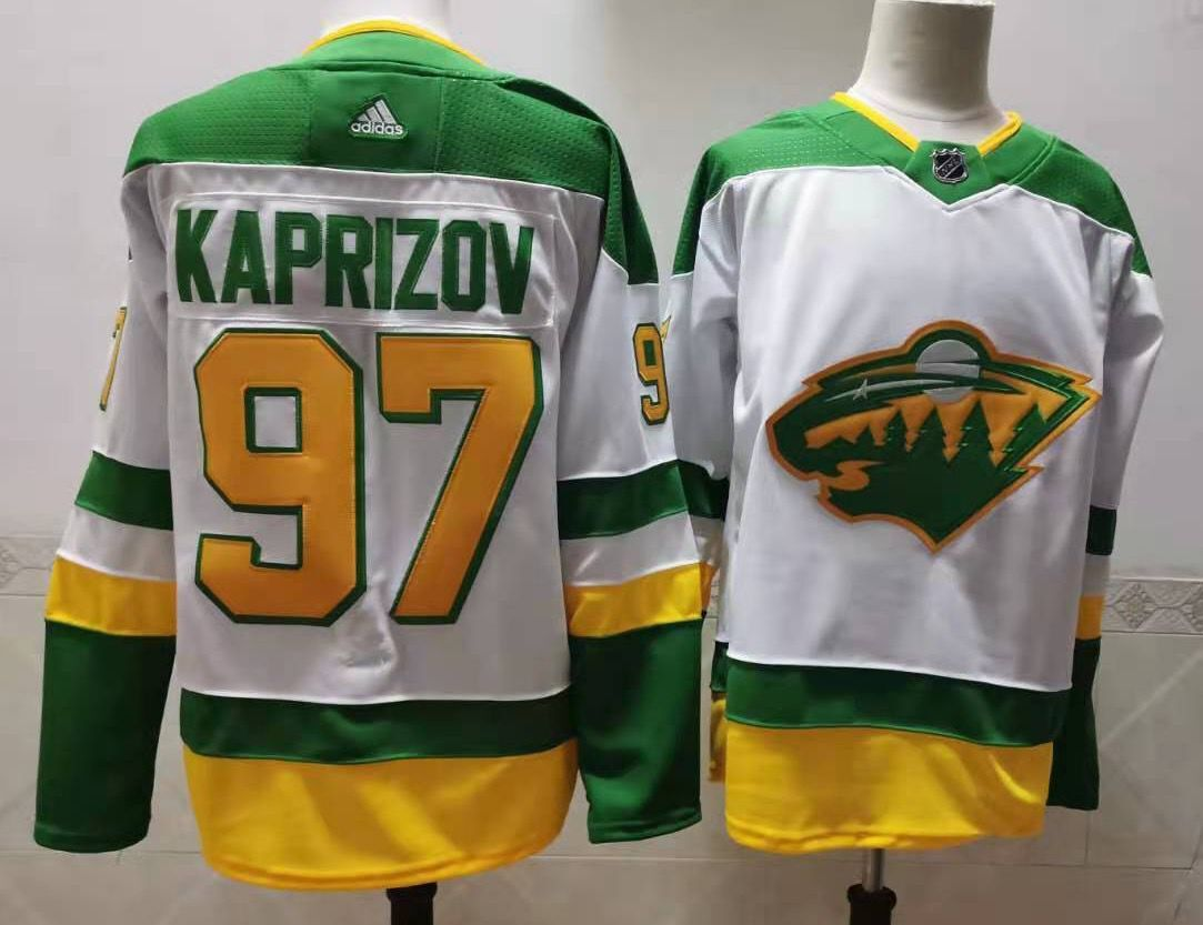 Wholesale Men Minnesota Wild 97 Kaprizov White Throwback Authentic Stitched 2020 Adidias NHL Jersey