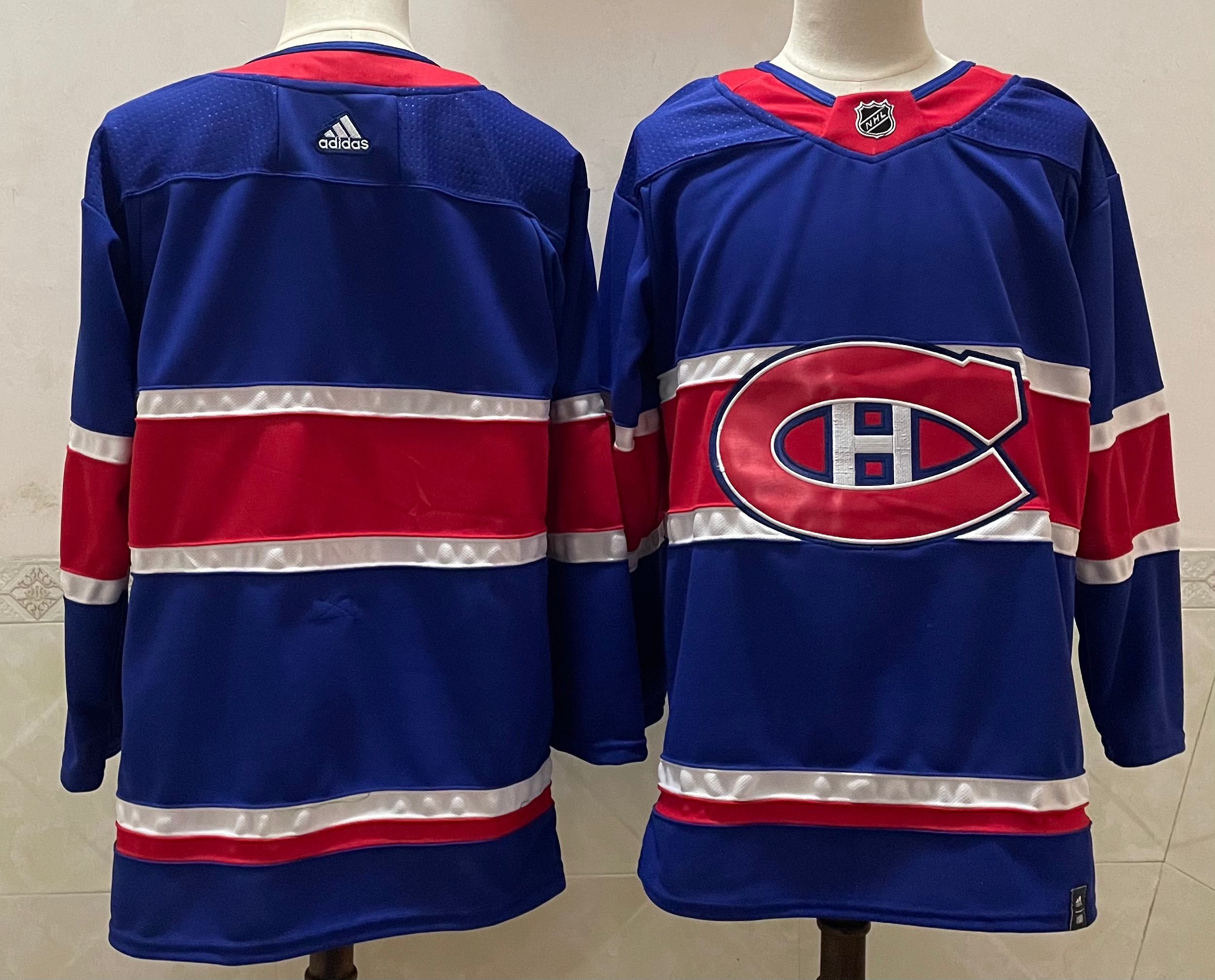 Cheap Men Montreal Canadiens Blank Blue Throwback Authentic Stitched 2020 Adidias NHL Jersey
