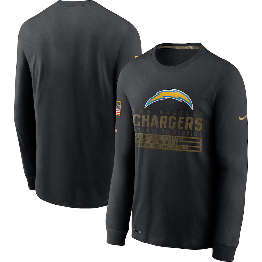 Cheap Men NFL Los Angeles Chargers T Shirt Nike Olive Salute To Service Green