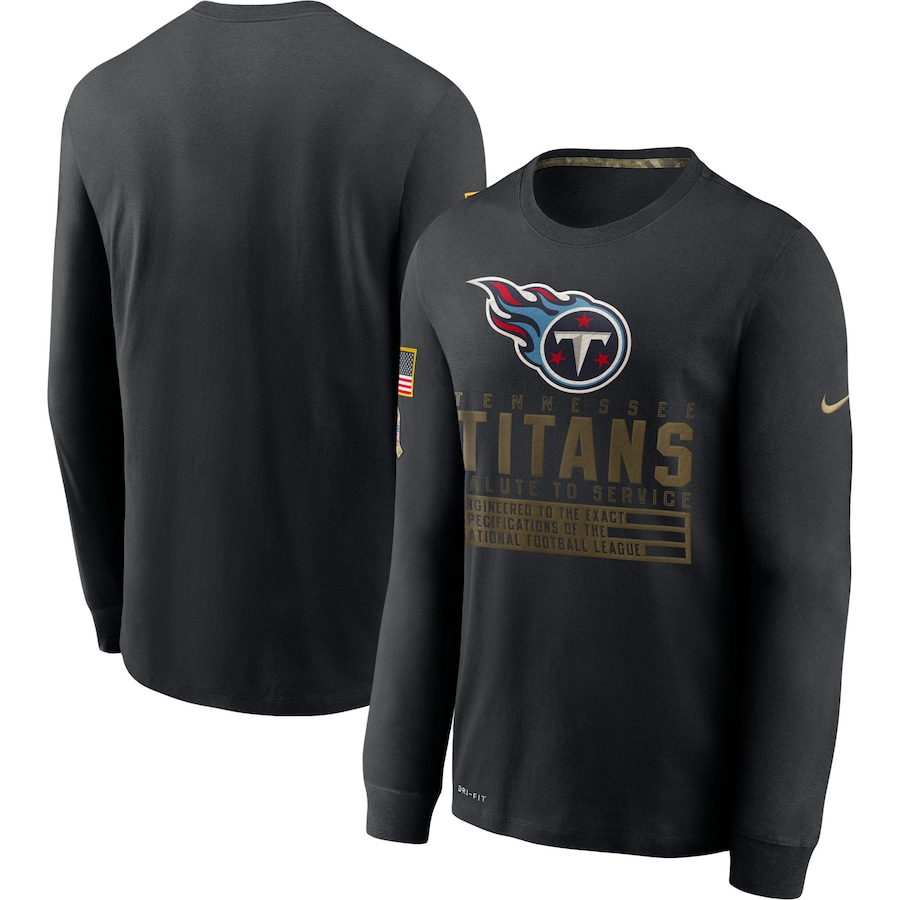 Men NFL Tennessee Titans T Shirt Nike Olive Salute To Service Green