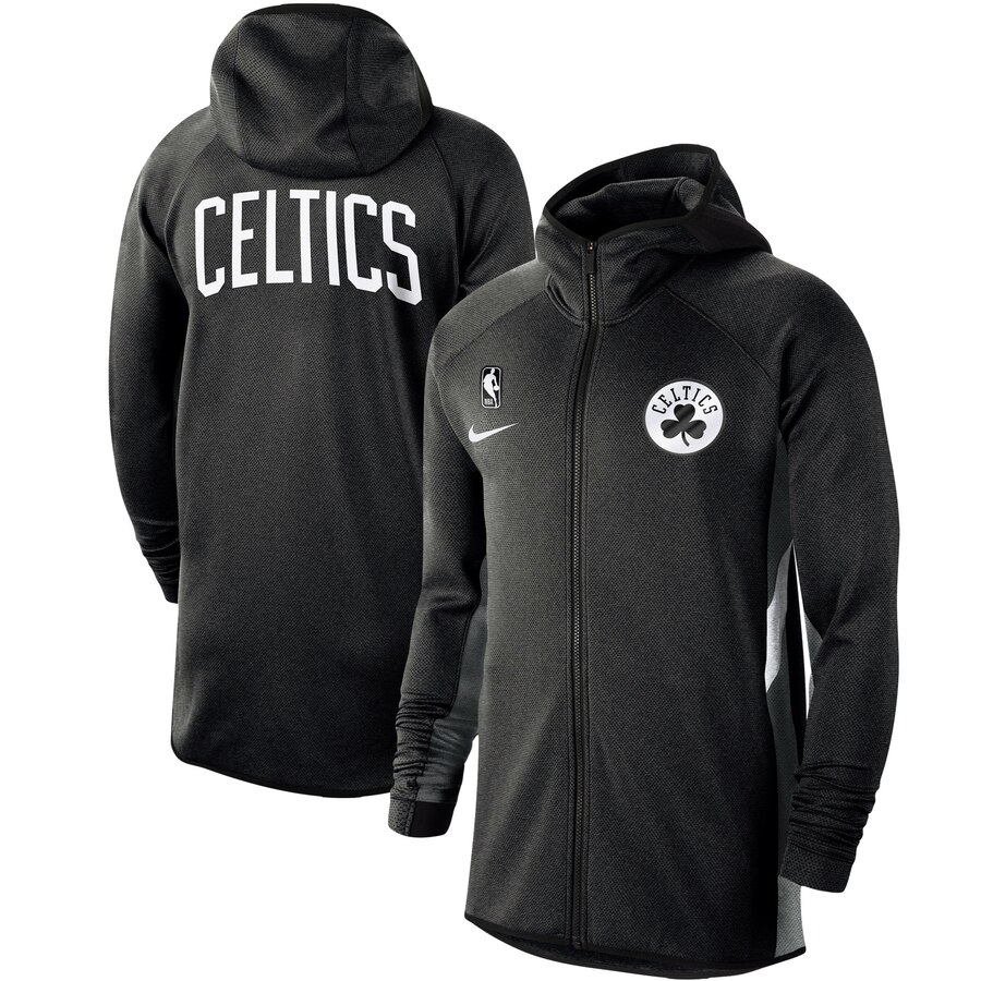 Wholesale Men Nike Boston Celtics Heathered Black Authentic Showtime Therma Flex Performance FullZip Hoodie