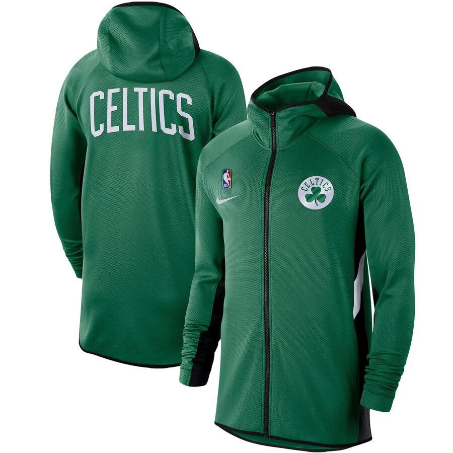 Wholesale Men Nike Boston Celtics Kelly Green Authentic Showtime Therma Flex Performance FullZip Hoodie