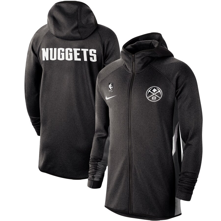 Wholesale Men Nike Denver Nuggets Heathered Black Authentic Showtime Therma Flex Performance FullZip Hoodie