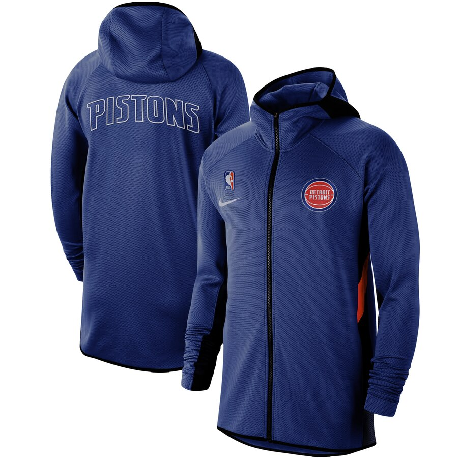 Wholesale Men Nike Detroit Pistons Blue Authentic Showtime Therma Flex Performance FullZip Hoodie