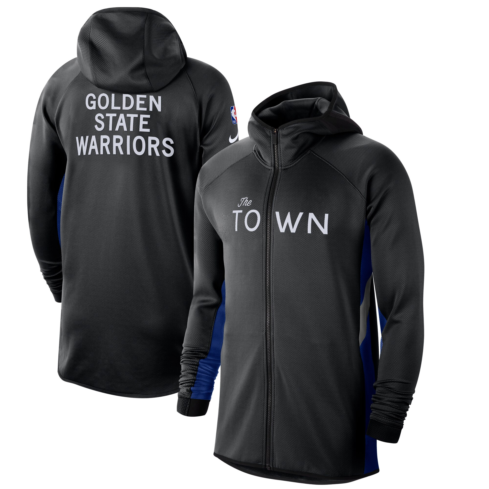 Wholesale Men Nike Golden State Warriors BlackBlue 201920 Earned Edition Showtime FullZip Performance Hoodie