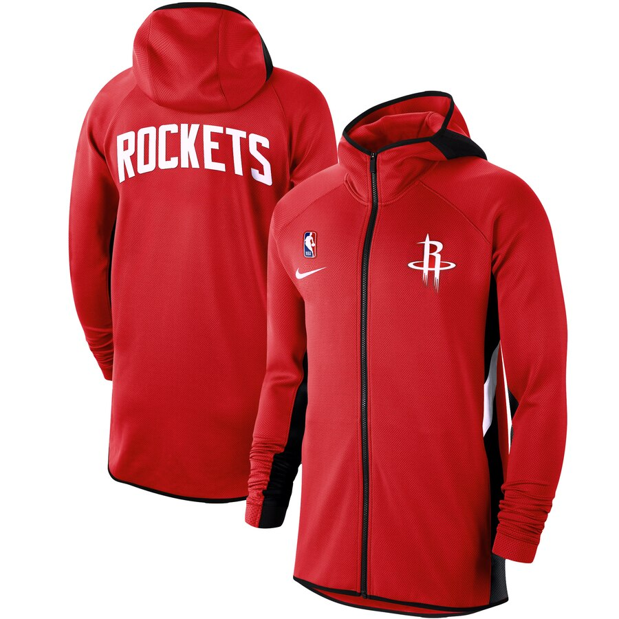 Cheap Men Nike Houston Rockets Red Authentic Showtime Therma Flex Performance FullZip Hoodie