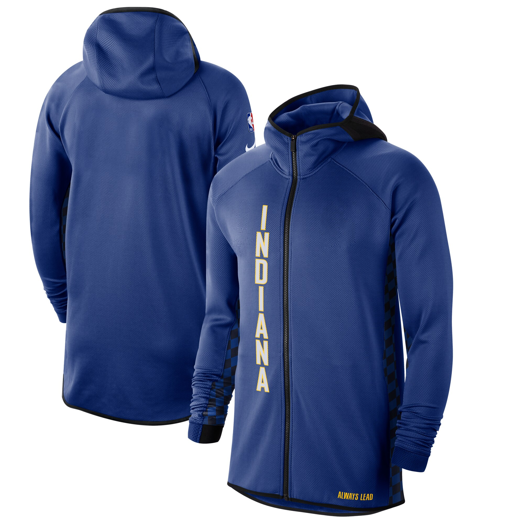 Wholesale Men Nike Indiana Pacers Blue White 201920 Earned Edition Showtime FullZip Performance Hoodie