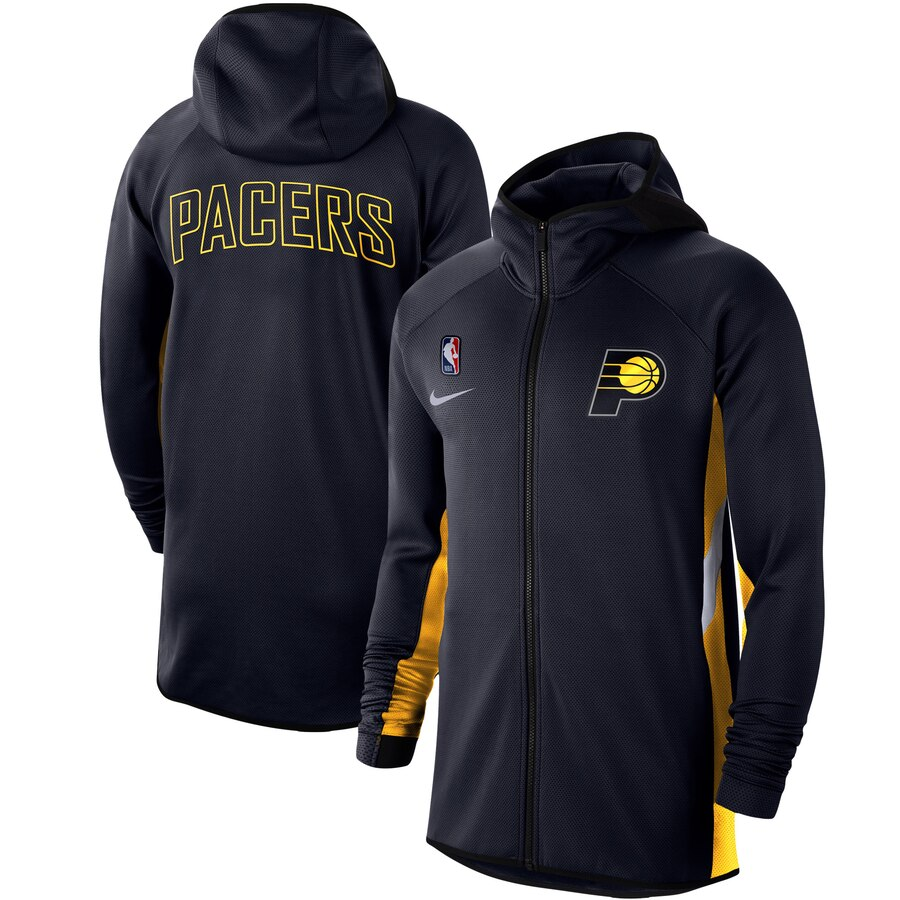 Wholesale Men Nike Indiana Pacers Navy Authentic Showtime Therma Flex Performance FullZip Hoodi