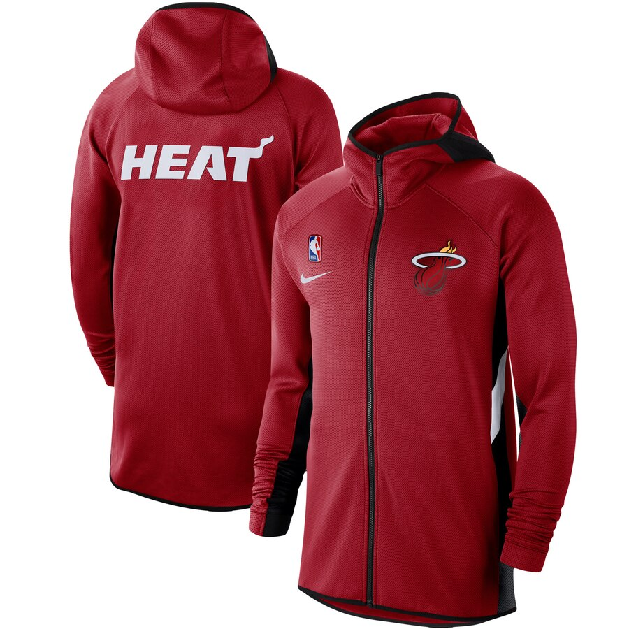 Cheap Men Nike Miami Heat Red Authentic Showtime Therma Flex Performance FullZip Hoodie