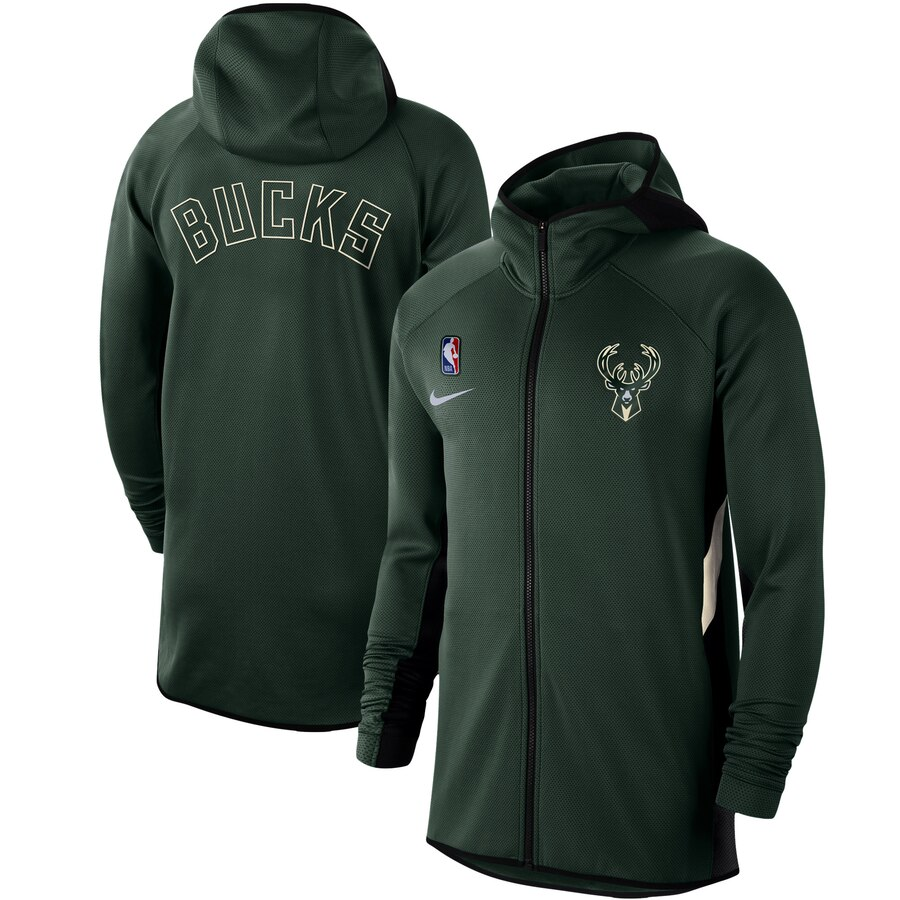 Wholesale Men Nike Milwaukee Bucks Hunter Green Authentic Showtime Therma Flex Performance FullZip Hoodie
