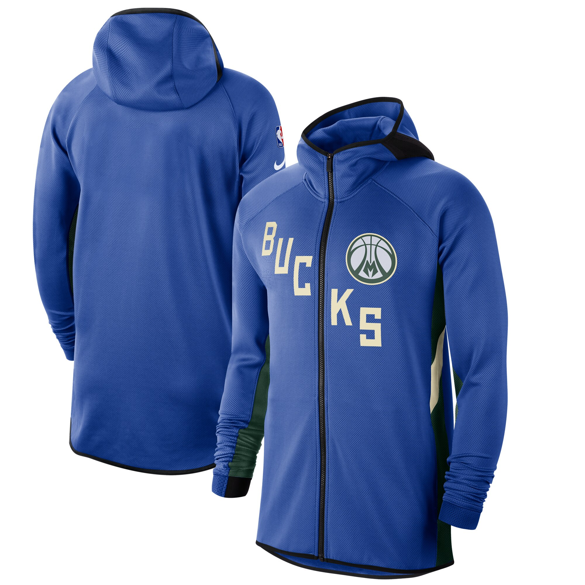 Wholesale Men Nike Milwaukee Bucks RoyalHunter Green 201920 Earned Edition Showtime FullZip Performance Hoodie