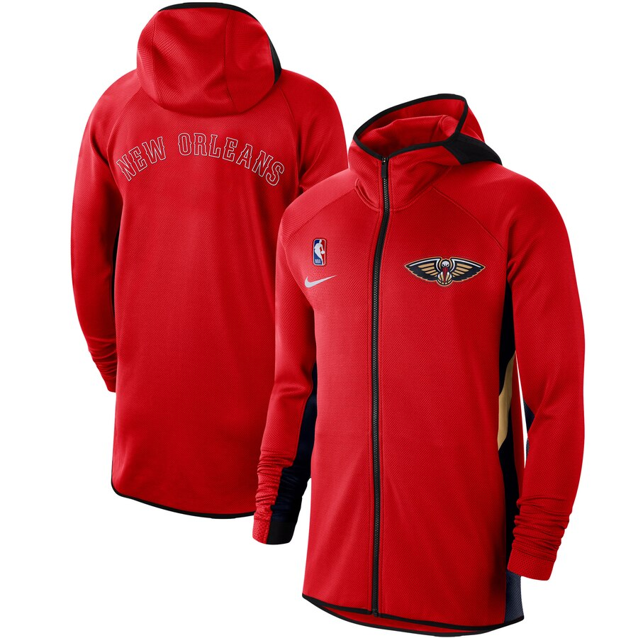 Wholesale Men Nike New Orleans Pelicans Red Authentic Showtime Therma Flex Performance FullZip Hoodie