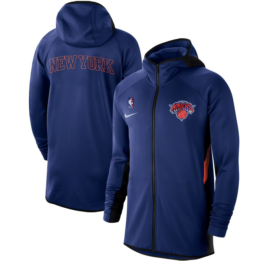 Cheap Men Nike New York Knicks Blue Authentic Showtime Therma Flex Performance FullZip Hoodie