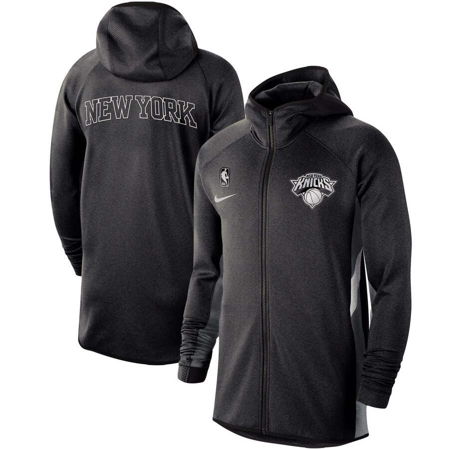 Cheap Men Nike New York Knicks Heathered Black Authentic Showtime Therma Flex Performance FullZip Hoodie