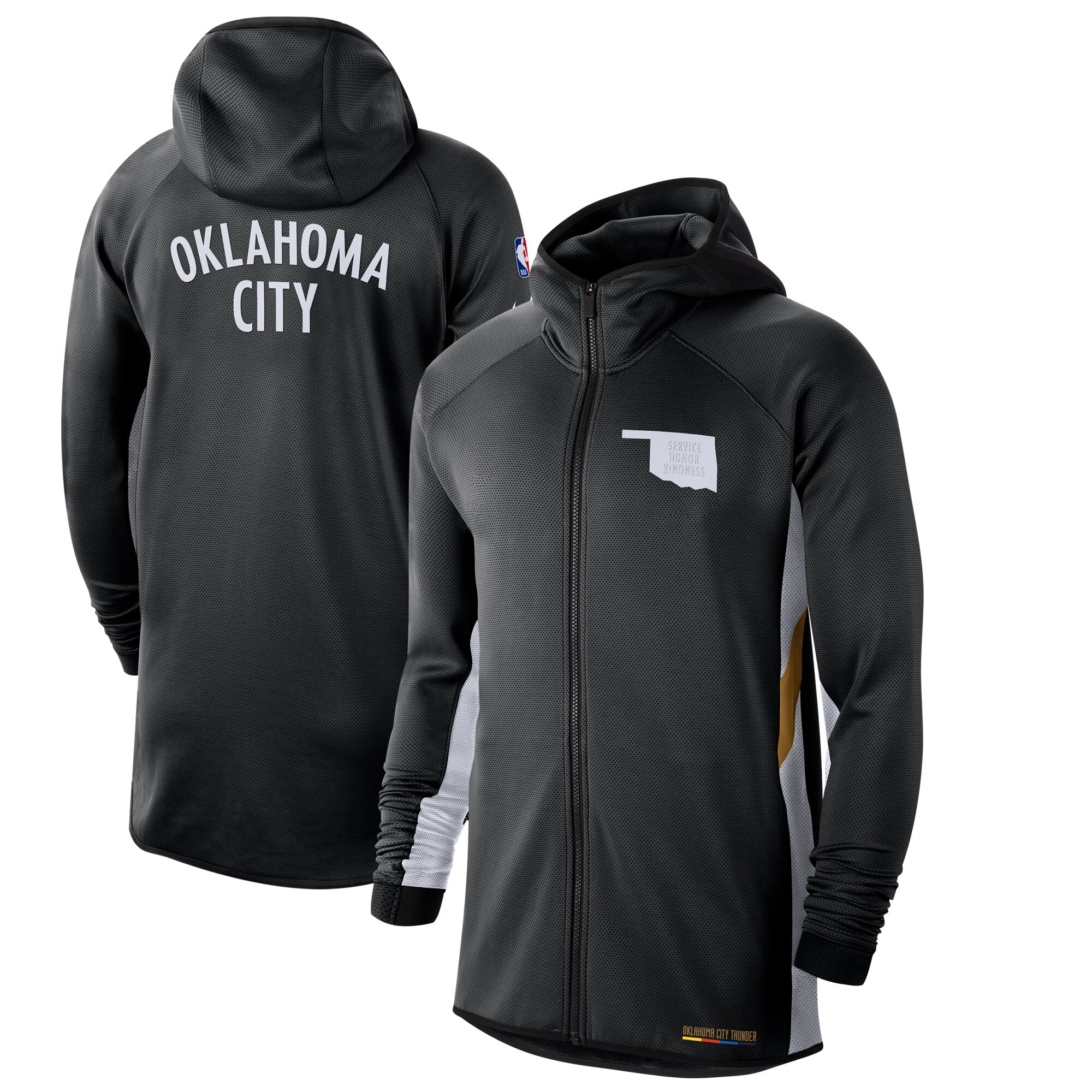 Cheap Men Nike Oklahoma City Thunder Black White 201920 Earned Edition Showtime FullZip Performance Hoodie