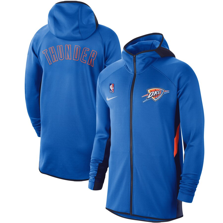 Cheap Men Nike Oklahoma City Thunder Blue Authentic Showtime Therma Flex Performance FullZip Hoodie