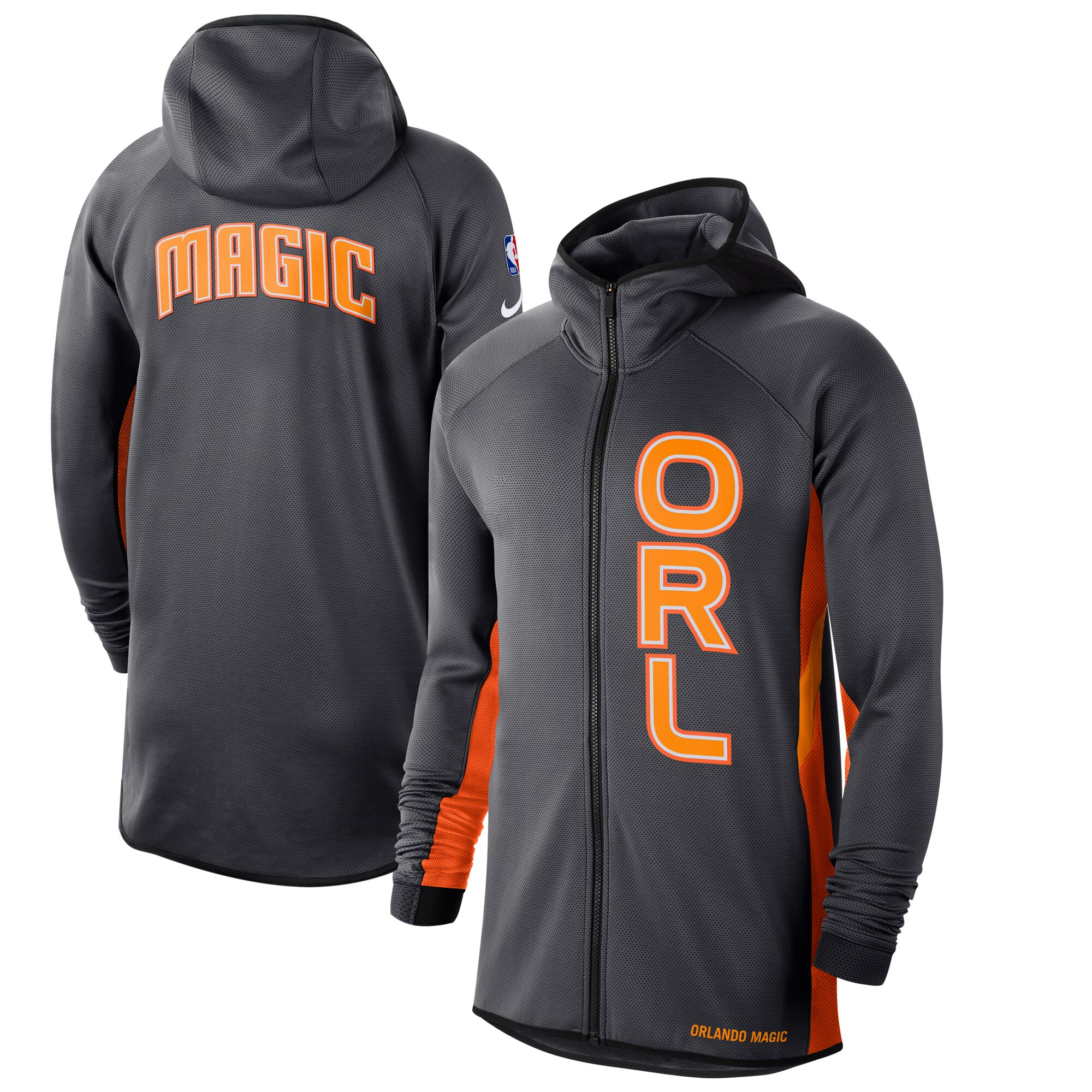 Cheap Men Nike Orlando Magic Anthracite Orange 201920 Earned Edition Showtime FullZip Performance Hoodie