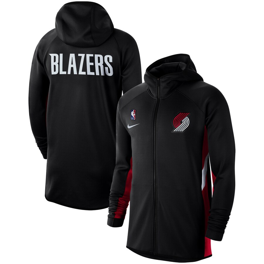 Wholesale Men Nike Portland Trail Blazers Black Authentic Showtime Therma Flex Performance FullZip Hoodie