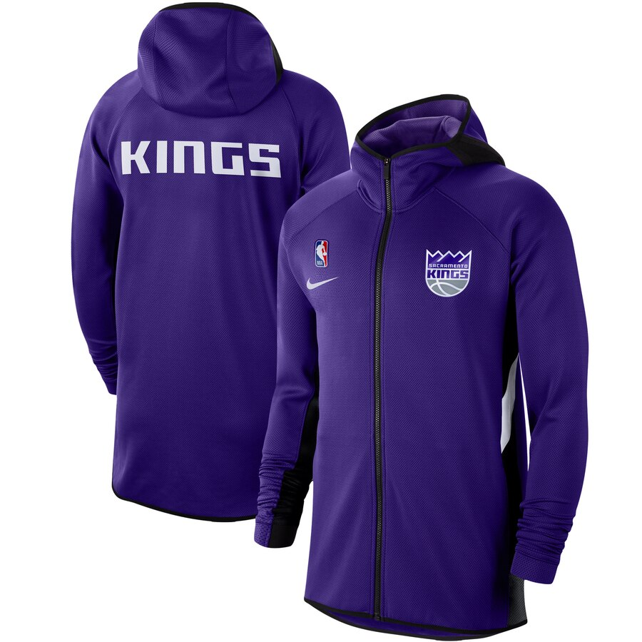 Wholesale Men Nike Sacramento Kings Purple Authentic Showtime Therma Flex Performance FullZip Hoodie