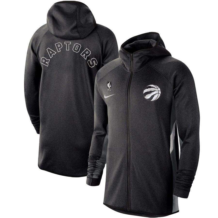 Cheap Men Nike Toronto Raptors Heathered Black Authentic Showtime Therma Flex Performance FullZip Hoodie