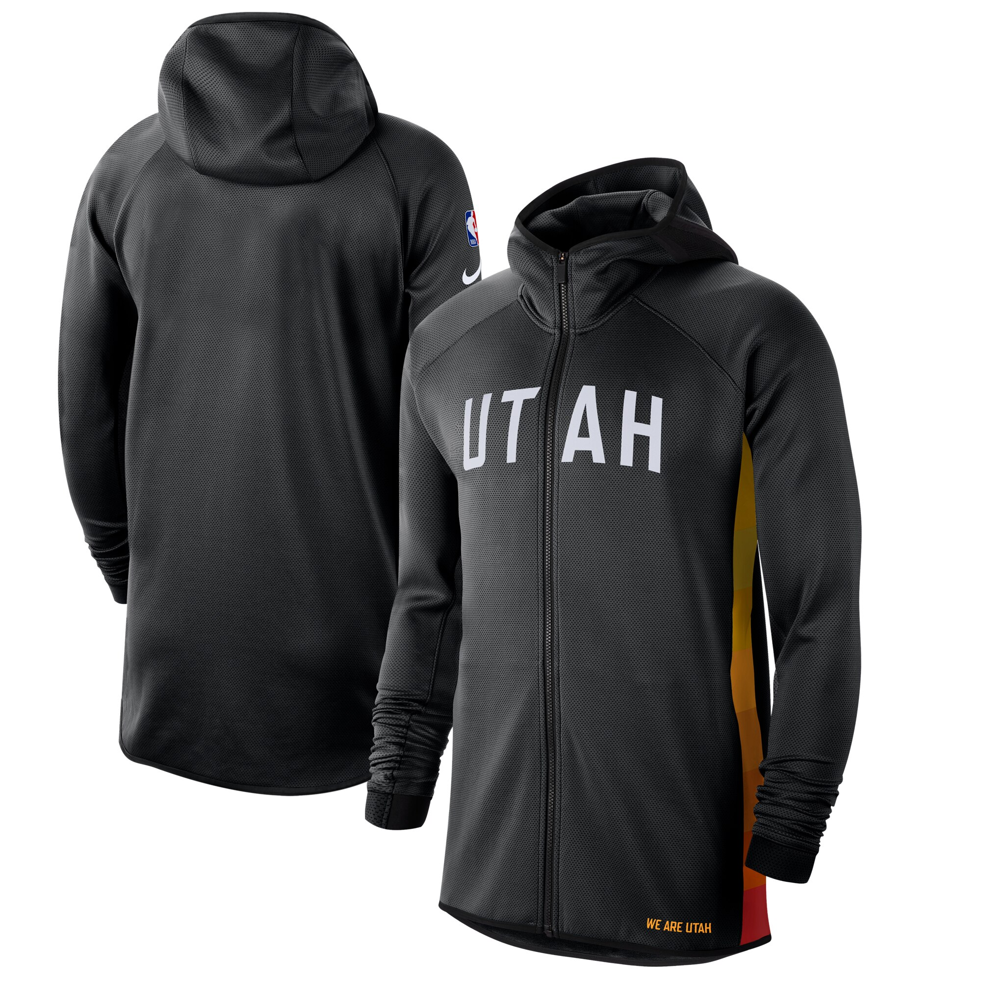 Cheap Men Nike Utah Jazz BlackWhite 201920 Earned Edition Showtime FullZip Performance Hoodie