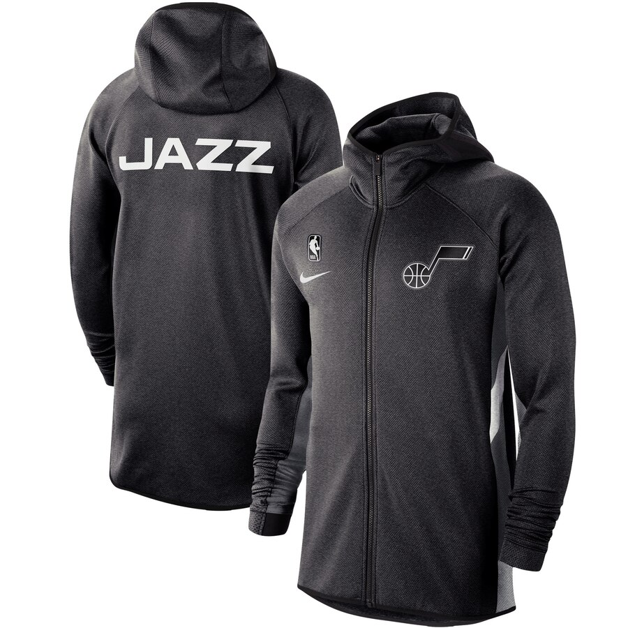 Cheap Men Nike Utah Jazz Heather Black Authentic Showtime Therma Flex Performance FullZip Hoodi