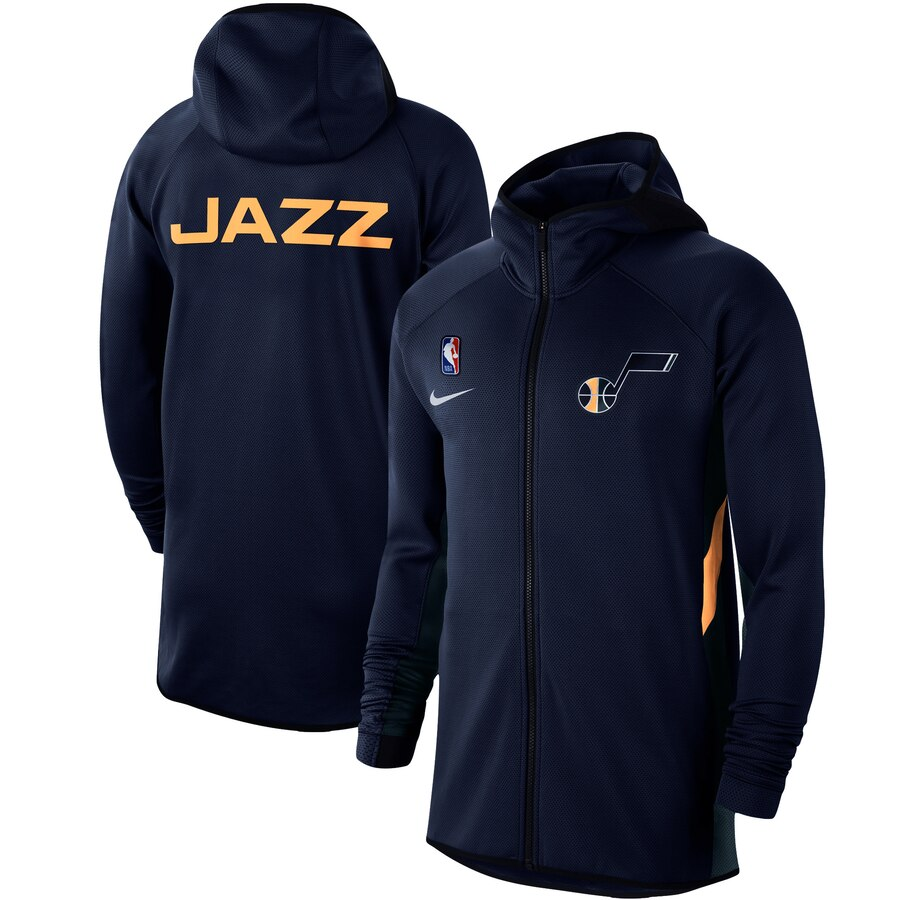 Cheap Men Nike Utah Jazz Navy Authentic Showtime Therma Flex Performance FullZip Hoodie