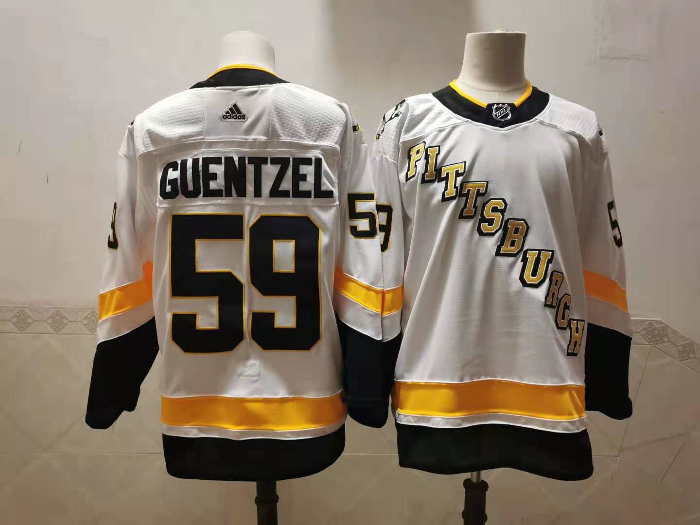 Cheap Men Pittsburgh Penguins 59 Guentzel White Authentic Stitched 2020 Adidias NHL Jersey