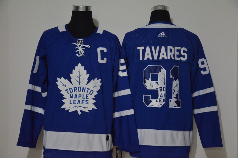 Cheap Men Toronto Maple Leafs 91 Tavares Blue Adidas Hockey print NHL Jerseys