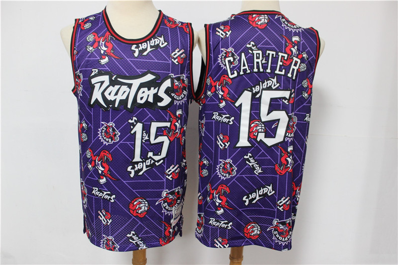 Cheap Men Toronto Raptors 15 Carter Purple Throwback NBA Jerseys Print