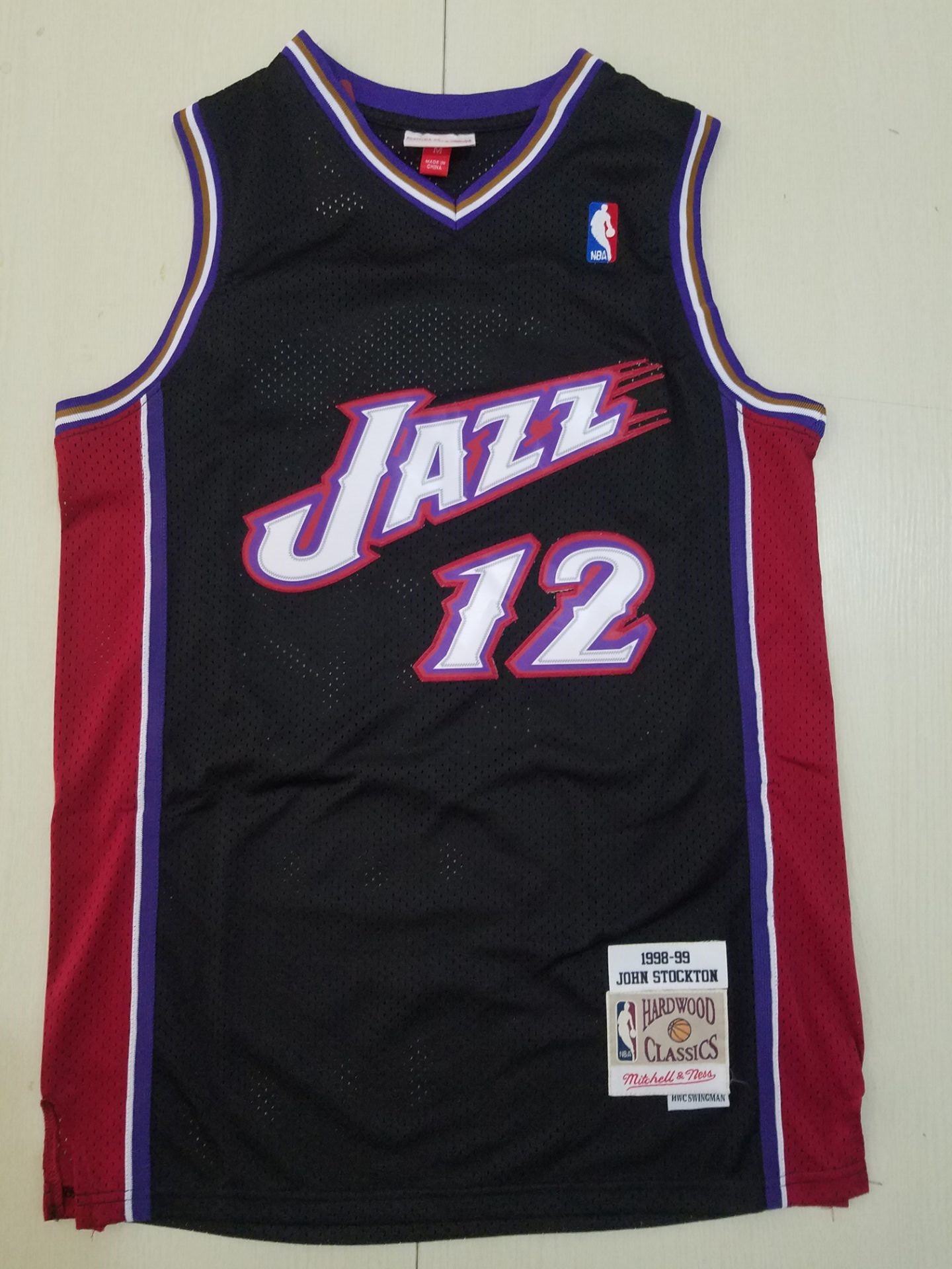 Cheap Men Utah Jazz 12 Stockton black Throwback NBA Jerseys
