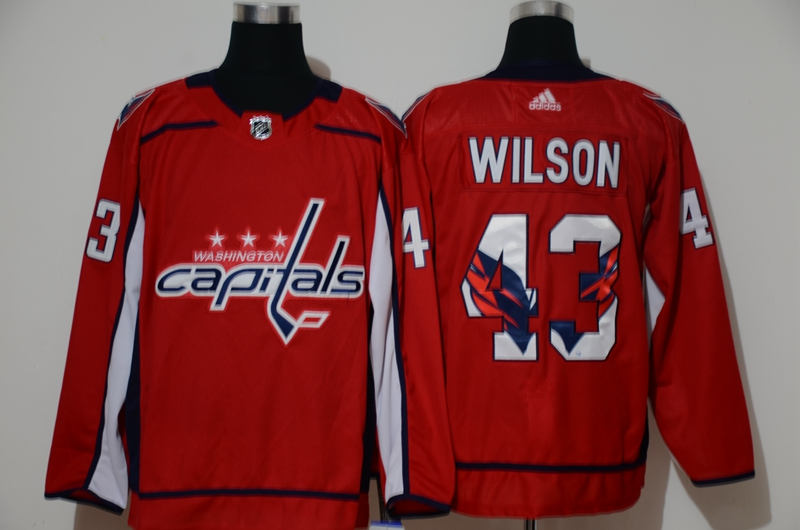 Wholesale Men Washington Capitals 43 Wilson Red Adidas print NHL Jersey