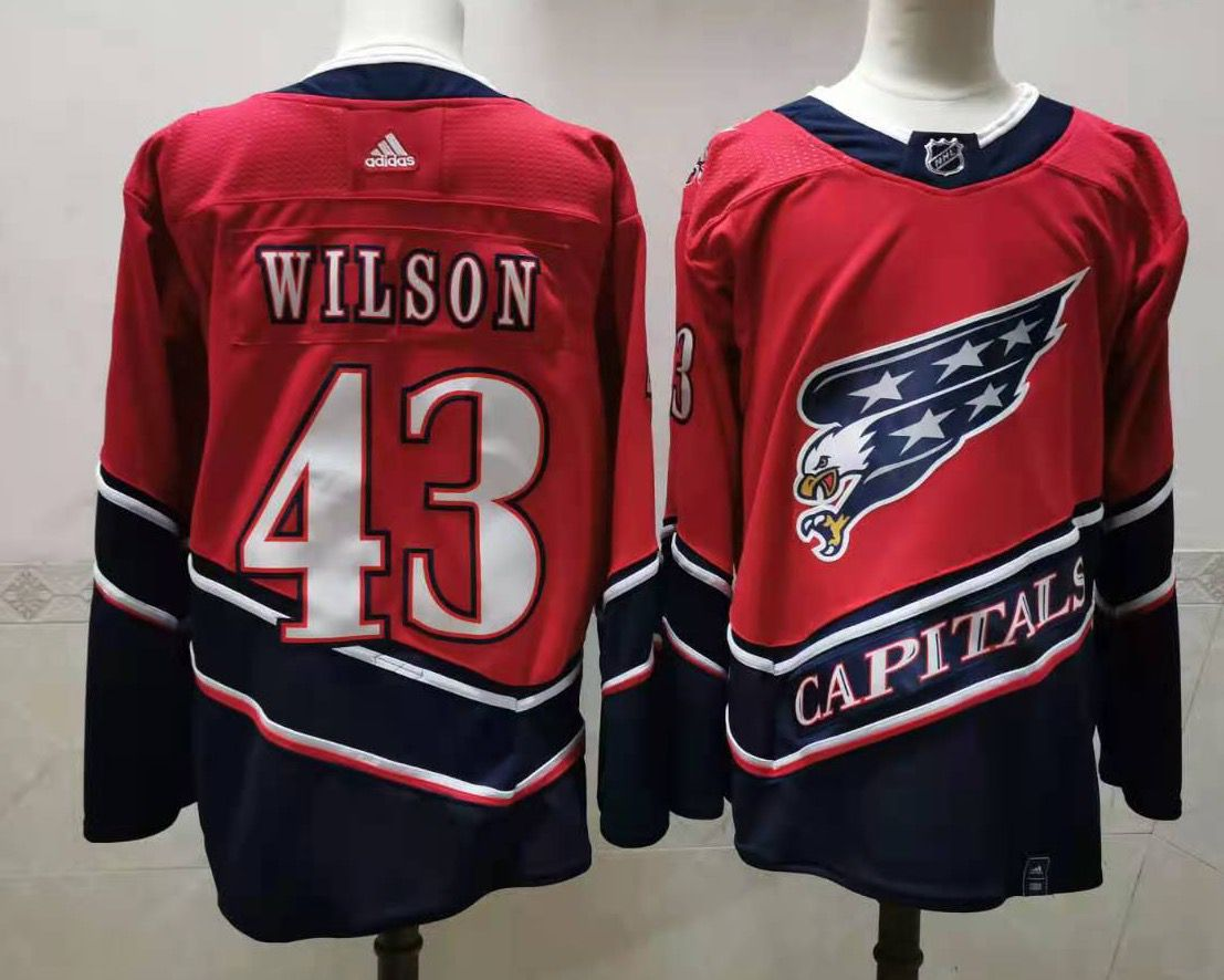 Cheap Men Washington Capitals 43 Wilson Red Throwback Authentic Stitched 2020 Adidias NHL Jersey