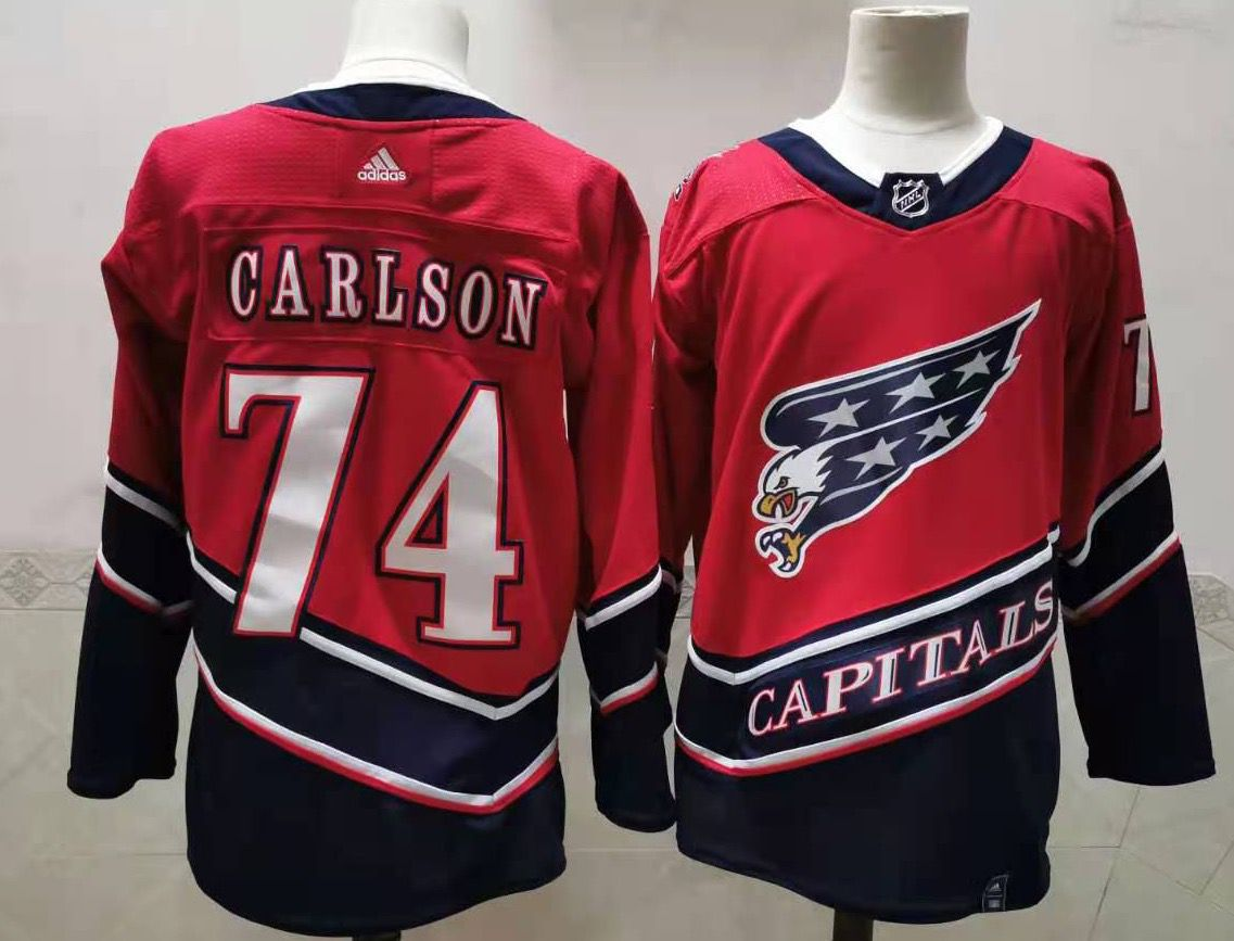 Cheap Men Washington Capitals 74 Carlson Red Throwback Authentic Stitched 2020 Adidias NHL Jersey