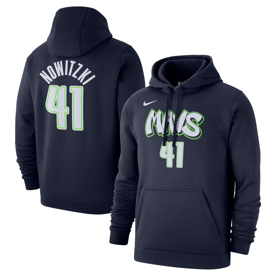 Wholesale NBA Dallas Mavericks 41 Dirk Nowitzki Nike 201920 City Edition Name Number Pullover Hoodie Navy