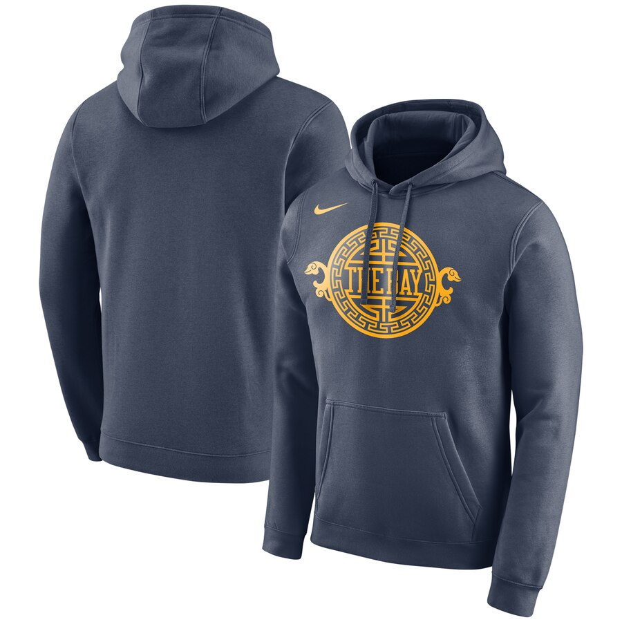 Wholesale NBA Golden State Warriors Nike City Edition Logo Essential Pullover Hoodie Navy
