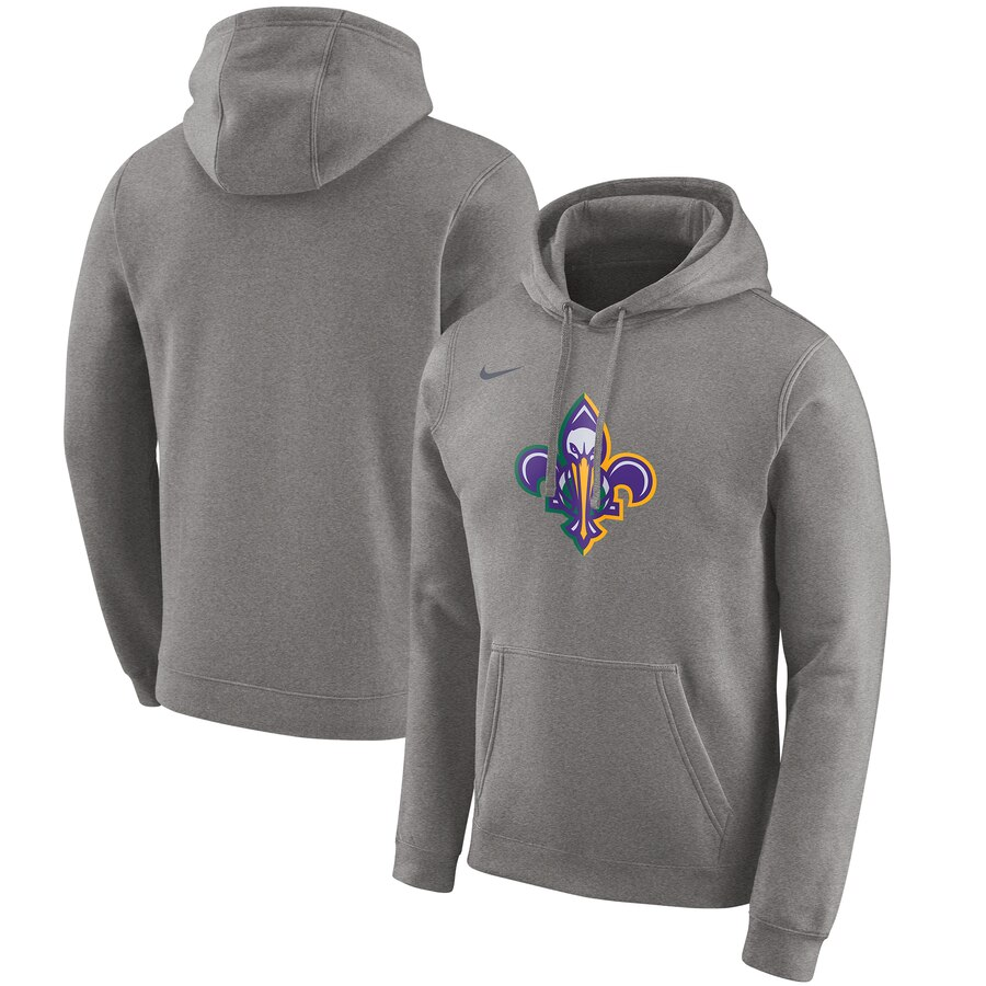 Wholesale NBA New Orleans Pelicans Nike 201920 City Edition Club Pullover Hoodie Heather Gray