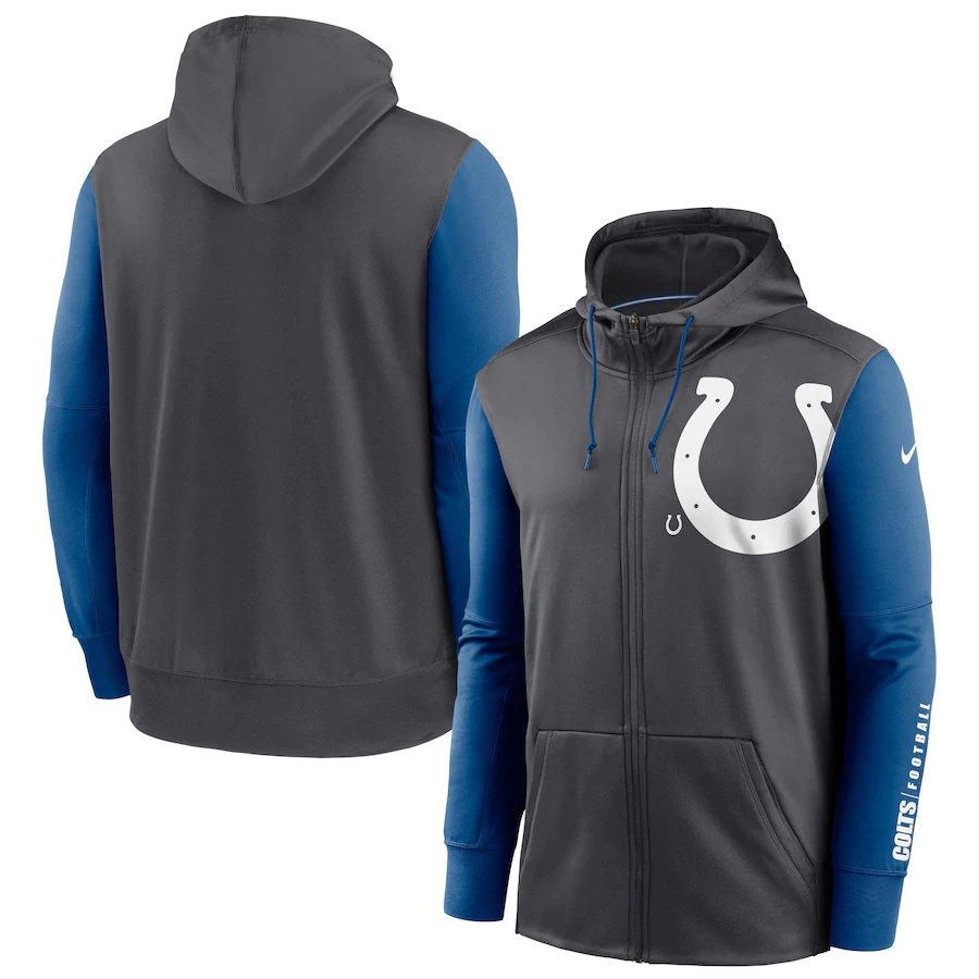Wholesale NFL Nike Indianapolis Colts Charcoal Royal Fan Gear Mascot Performance FullZip Hoodie