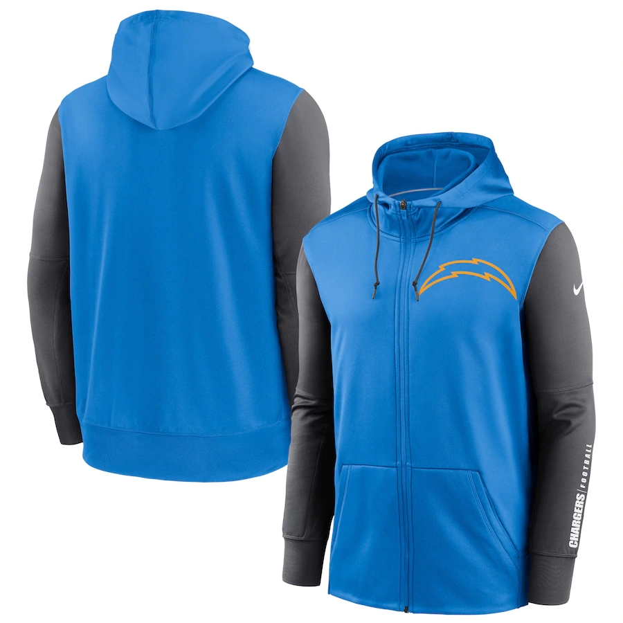 Cheap NFL Nike Los Angeles Chargers Powder Blue Charcoal Fan Gear Mascot Performance FullZip Hoodie