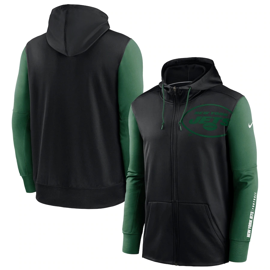 Wholesale NFL Nike New York Jets Black Green Fan Gear Mascot Performance FullZip Hoodie