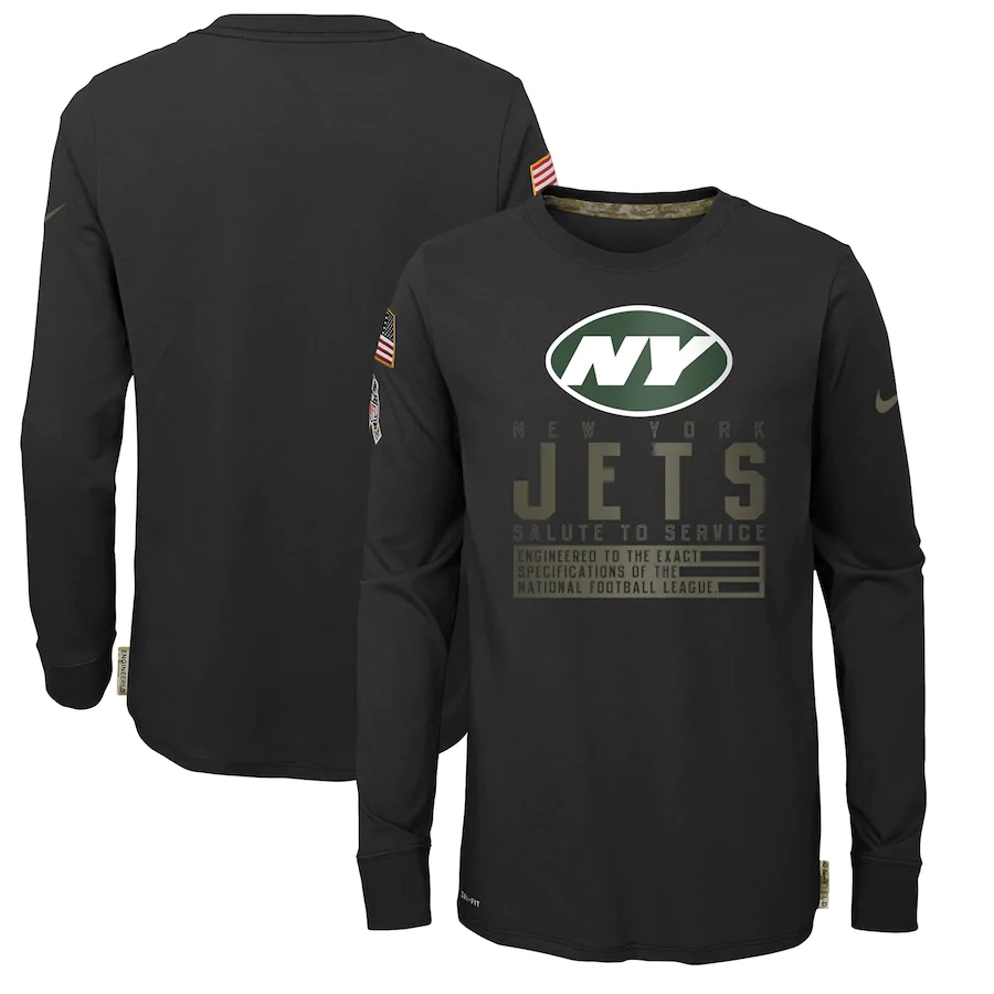 Wholesale Nike New York Jets Youth Black Salute to Service Long Sleeve TShirt