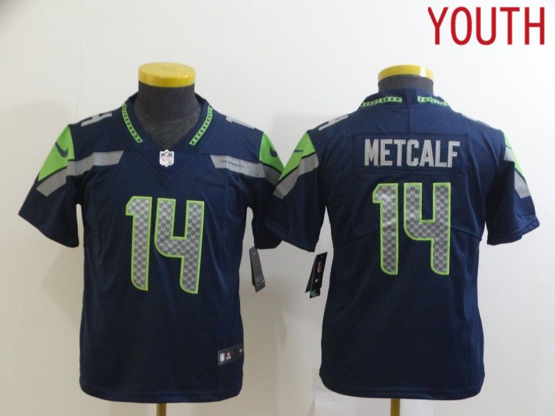 Wholesale Youth Seattle Seahawks 14 Metcalf Blue Nike Limited Vapor Untouchable NFL Jerseys