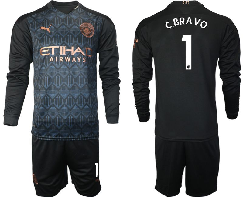 Wholesale Men 2020-2021 club Manchester city home long sleeve 1 black Soccer Jerseys