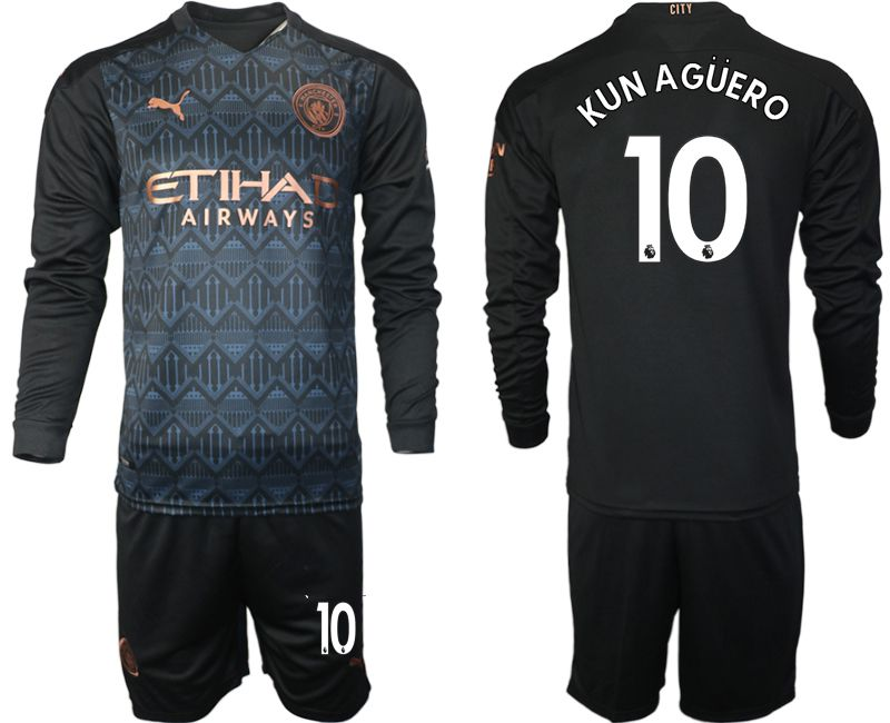 Wholesale Men 2020-2021 club Manchester city home long sleeve 10 black Soccer Jerseys