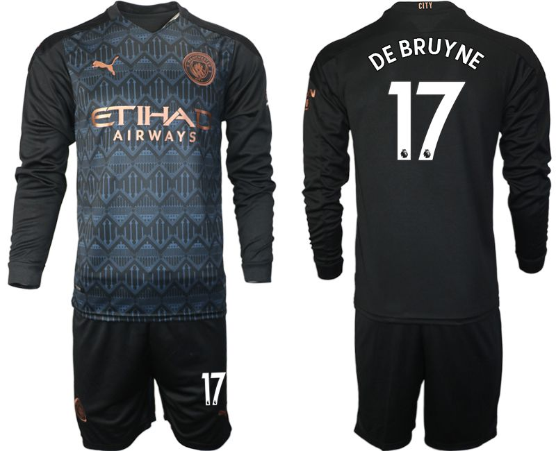 Wholesale Men 2020-2021 club Manchester city home long sleeve 17 black Soccer Jerseys