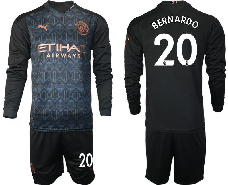 Wholesale Men 2020-2021 club Manchester city home long sleeve 20 black Soccer Jerseys