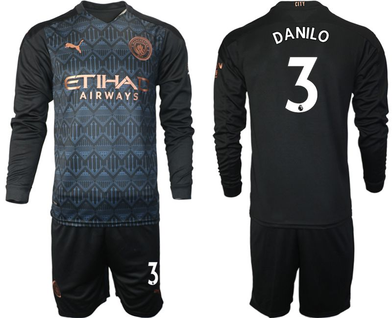 Wholesale Men 2020-2021 club Manchester city home long sleeve 3 black Soccer Jerseys